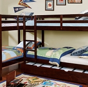 Marquette L- Shape Quadruple Twin Bunk Bed
